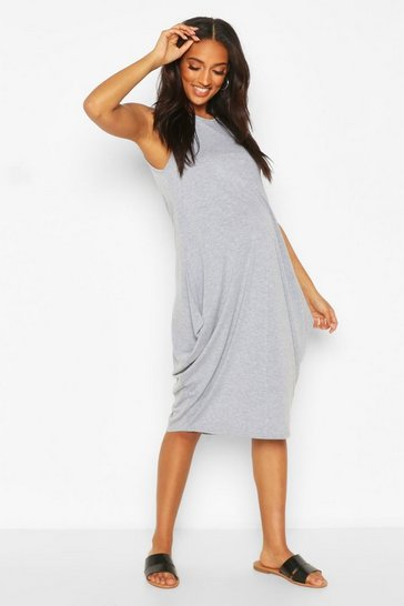Grey marl Maternity Drape Midi Dress