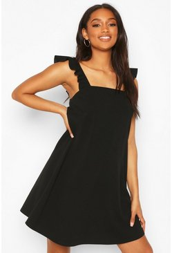 Black Maternity Frill Tie Back Sundress