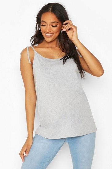Grey marl Maternity Tie Shoulder Nursing Cami