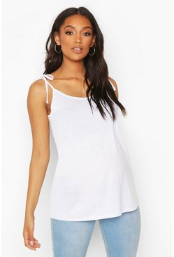 White Maternity Tie Shoulder Nursing Cami