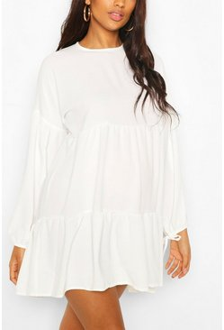 Ivory Maternity Tiered Tie Sleeve Smock Dress