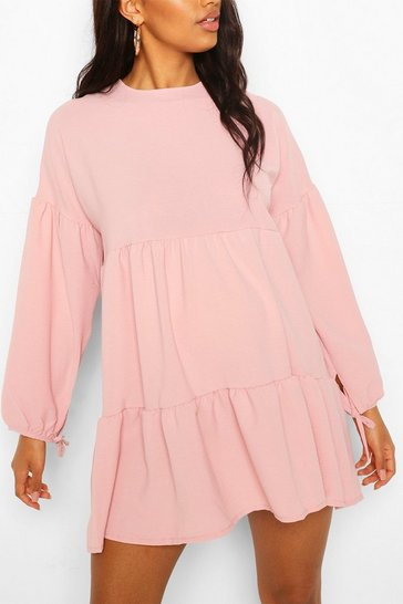 Rose Maternity Tiered Tie Sleeve Smock Dress