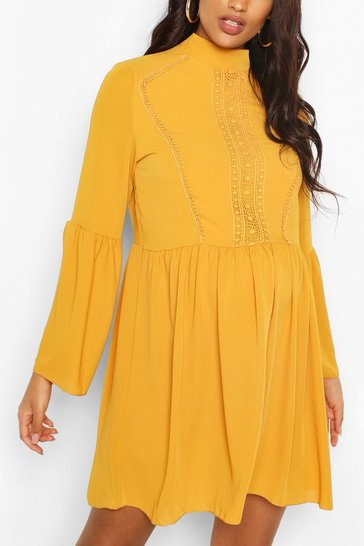 Mustard Maternity Boho Crochet Smock Dress