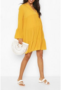 Mustard Maternity Woven Tiered Smock Dress