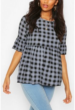 Black Maternity Gingham Smock Top