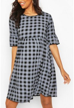 Black Maternity Gingham Smock Dress
