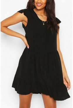 Black Maternity Tiered Cap Sleeve Smock Dress