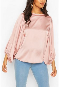 Rose Maternity Drape Sleeve Satin Top