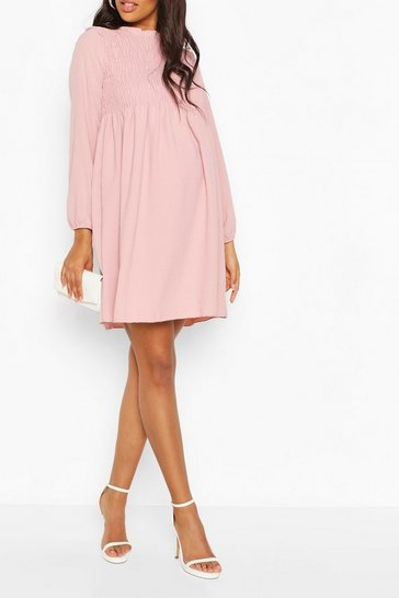Dusky pink Maternity Woven Shirred Smock Dress