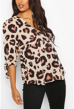 Tan Maternity Tie Sleeve Leopard Top