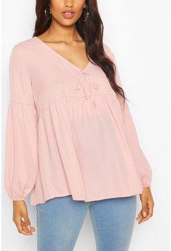 Pale pink Maternity Drape Sleeve Woven Smock Top