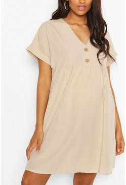 Stone Maternity Button Front Linen Smock Dress