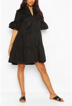 Black Maternity Tiered Cotton Smock Dress
