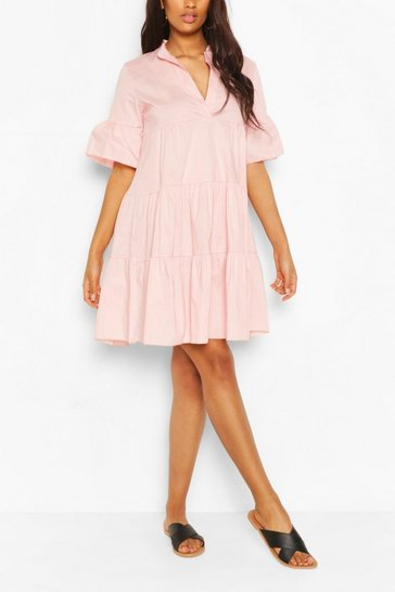 Pale pink Maternity Tiered Cotton Smock Dress