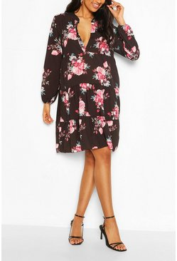 Black Maternity Floral Woven Smock Dress