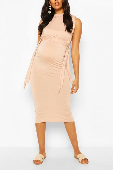 Blush Maternity Nursing Wrap Around Midi Dress
