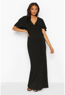 Black Maternity Drape Maxi Dress