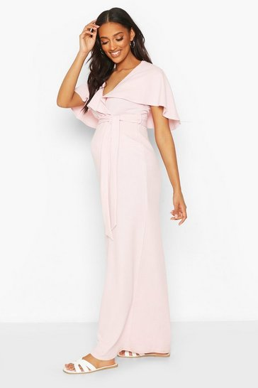 Pink Maternity Drape Maxi Dress