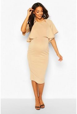 Sand Maternity Double Layer Midi Dress