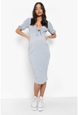 Blue Maternity Nursing Ribbed Bow Midi Dress