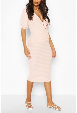 Pink Maternity Nursing Ribbed Bow Midi Dress