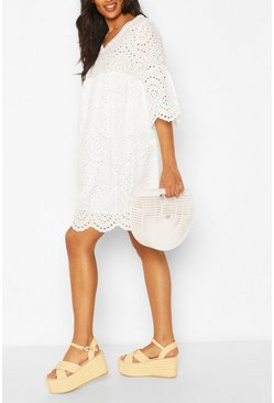 White Maternity Broiderie Anglais Smock Dress