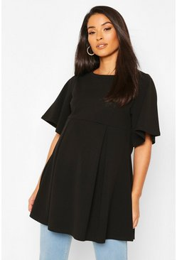 Black Maternity Angel Sleeve Pleated Tunic Top
