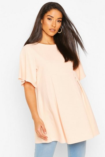Blush Maternity Angel Sleeve Pleated Tunic Top