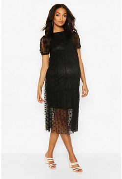 Black Maternity Dobby Mesh Tier Dress
