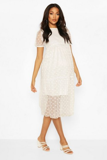 Ivory Maternity Dobby Mesh Tier Dress