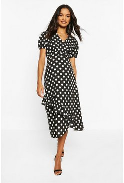 Black Maternity Polka Dot Ruffle Hem Midi Dress