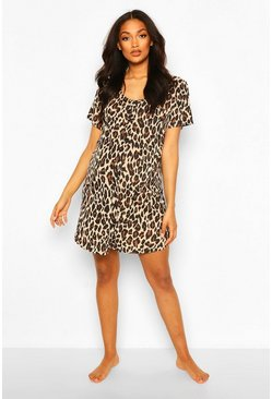 Brown Maternity Leopard Nursing Button Nightie