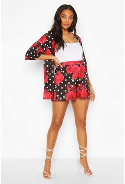 Black Maternity Floral Polka Dot Flippy Shorts