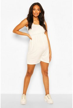 White Maternity Shirred Ruffle Playsuit