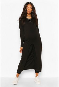 Black Maternity Dip Hem Maxi Tunic Top