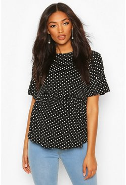 Black Maternity Nursing Polka Dot Smock Top
