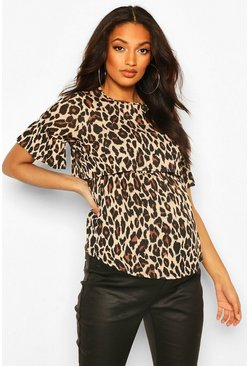 Brown Maternity Nursing Leopard Smock Top