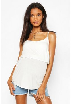 White Maternity Nursing Swing Cami Top
