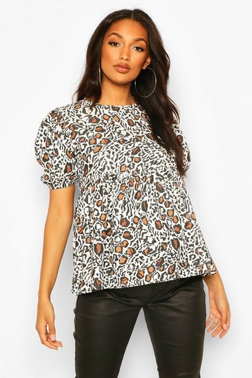 White Maternity Puff Sleeve Leopard Smock Top