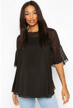 Black Maternity Dobby Mesh Smock Top