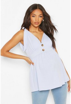 Baby blue Maternity Tie Shoulder Smock Tank Top