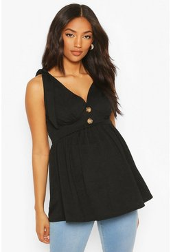 Black Maternity Tie Shoulder Smock Tank Top