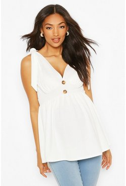 White Maternity Tie Shoulder Smock Tank Top