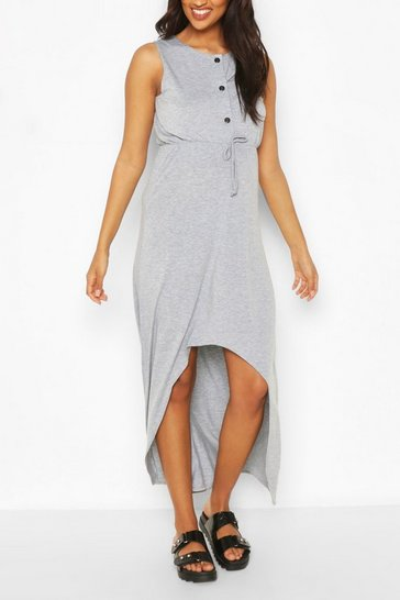 Grey marl Maternity Nursing Button Front Midi Dress