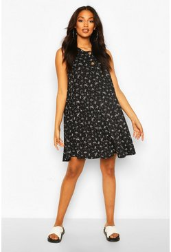 Black Maternity Ditsy Floral Button Front Swing Dress