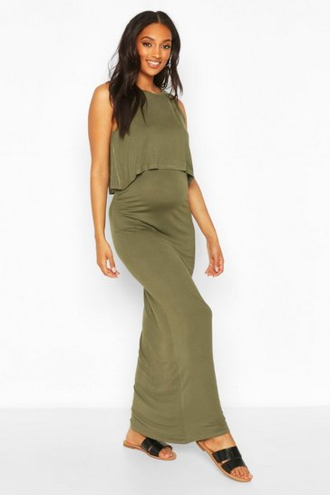 Khaki Maternity Nursing Maxi Dress