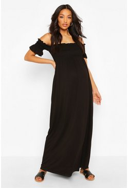 Black Maternity Bardot Shirred Maxi Dress