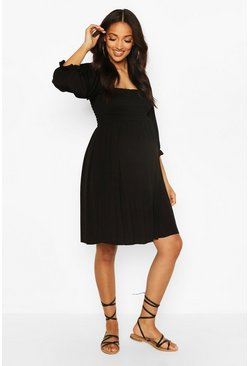Black Maternity Shirred Skater Dress