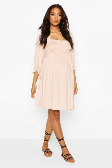 Nude Maternity Shirred Skater Dress