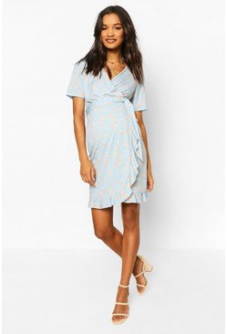 Dusty blue Maternity Ditsy Frill Hem Skater Dress